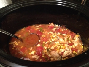 I nourished myself with my first crock-pot recipe, chicken tortilla soup!