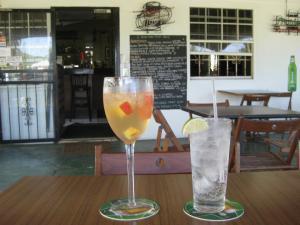 Post jet-skiing drinks.