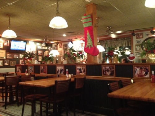 The restaurant was still decked out for Christmas, which I loved.