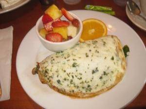 Herbed Omlette and fruit at Hugo's Restaurant.
