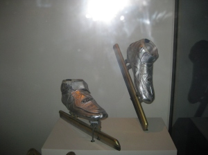Apolo Ohno's speed ice skates he wore at the 2002 Winter Olympic Games in Salt Lake City,  where he won a gold medal.