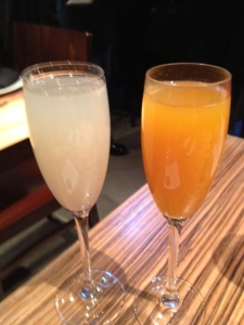 Left: Lychee Bellinihouse champagne / house-made lychee pureeRight: Masa Mimosahouse champagne / mango puree / blood orange