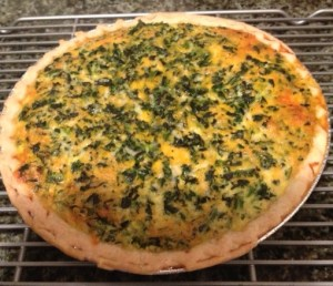 A picture of MY homemade simple spinach quiche!