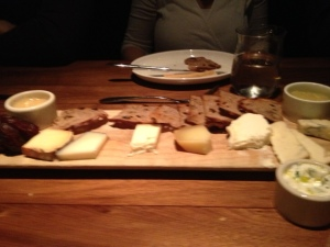 Assorted cheeseboard.A selection of cow and goat cheeses.