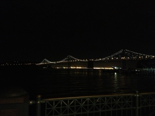 Beautiful shot of the Bay Bridge at night.
