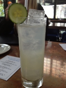 I decided to go the non-alcoholic drink route and ordered a lime/soda water concoction.