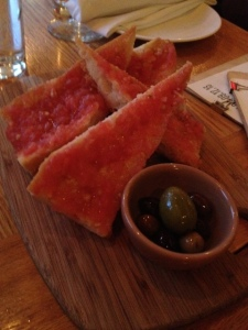 Pan con Tomate Grilled bread rubbed with tomato, garlic and olive oil
