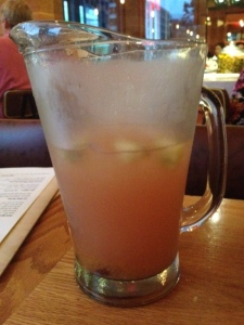 Our first pitcher of peach sangria. We promptly ordered a second one.