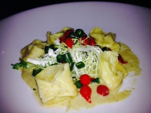 Tortellini, house-made ricotta, grilled corn puree, summer beans, sweet peppers.