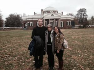 Tommy, mom and me in front of the historic home.