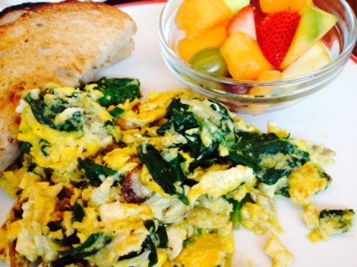 I ordered the egg scramble with sausage, mushrooms, cheese, and spinach.