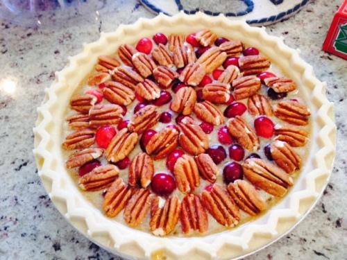 Pecan Cranberry pie I made for Christmas dinner.