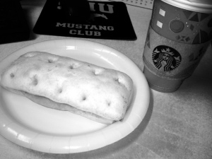 Ham and Swiss Cheese panini and a skinny vanilla latte!