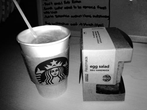Skim latte and an egg salad sandwich.