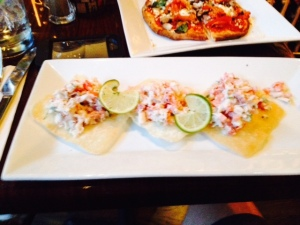 Crab Tostadas  - tostada shells slathered with lump crab tossed in red Onion, Jalapeño, Plum Tomato, Fresh Cilantro, Lime Juice