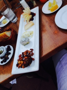 After ordering a bottle of wine (of course) we started with a cheese plate to share.