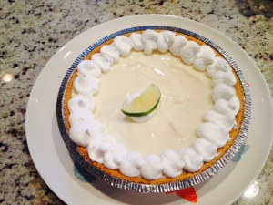 A key lime pie for dessert on Sunday in celebration of Tommy's accomplishment.
