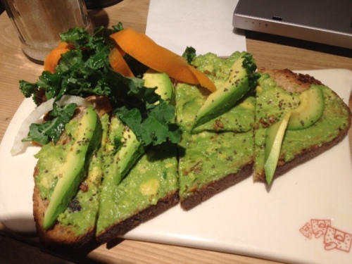 My breakfast at Union Station - yum! Multi-grain toast with avocado and chia seeds.