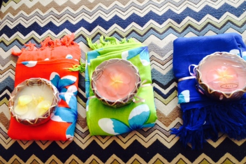 I had brought back some bachelorette party favors from Bali for everyone, a sarong and candle.