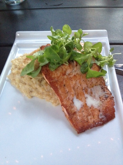 For my main course I got the Pan Seared Salmon with Risotto.