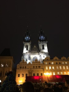 Beautiful shot of the Church of Our Lady before Tyn in Old Town Square.