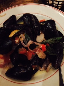 Pei Wei Mussels - white wine and garlic broth