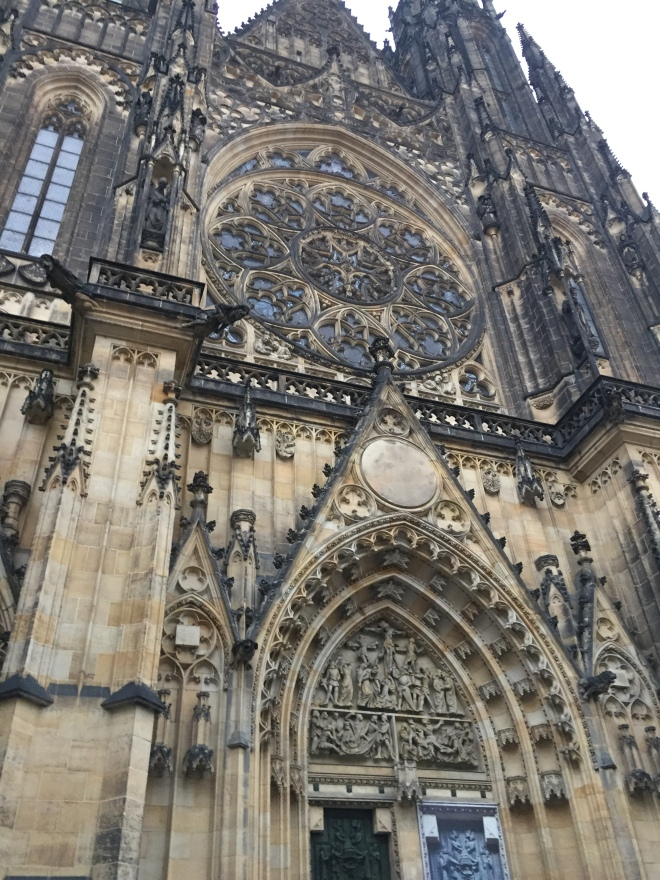 St. Vitus Cathedral in the Prague Castle. The largest cathedral in Prague and you may remember the cathedral that St. Barbara's Cathedral in Kutna Hora was modeled after.