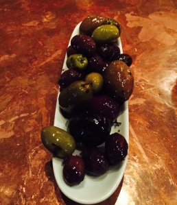 An assortment of olives.