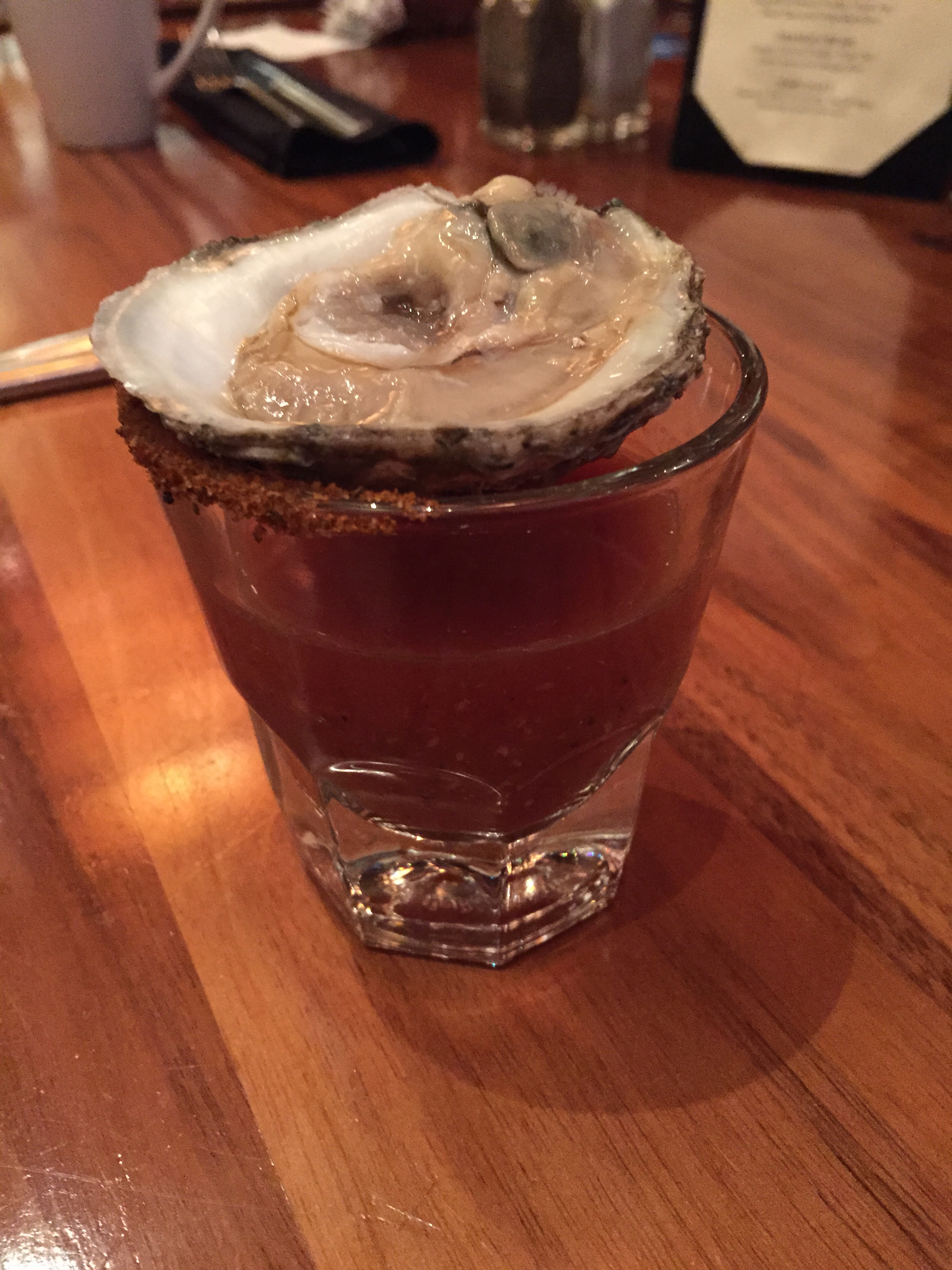 Everyone received a complimentary Oyster Shooter. Unfortunately/fortunately I had to give mine to the birthday girl.