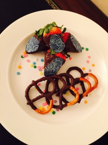 We had chocolate covered strawberries and pretzels waiting for us upon arrival.