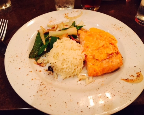 Atlantic Salmon - Roasted Red Pepper Cream Sauce - Crab - Rice - Mixed Vegetables
