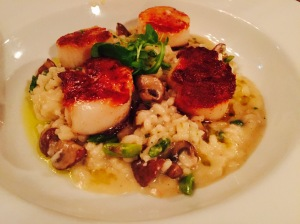 (Christy) and I ordered the Pan Seared Scallops over Risotto. Delish!